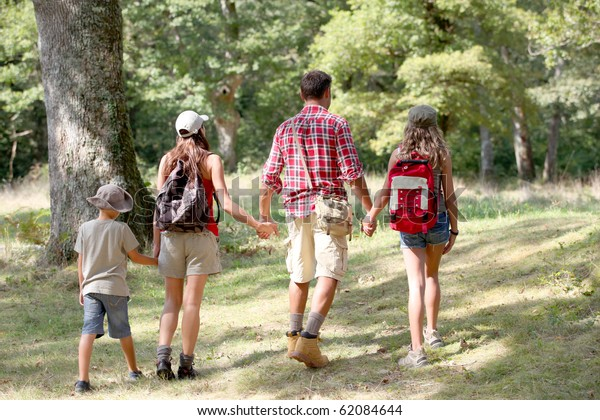 Parents and children on a hiking day
