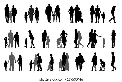 Parents and children with pram Silhouette  Illustration