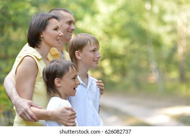 Parents with children in the summer