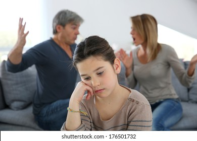 Parents fighting and daughter being upset