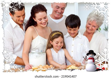 Parents and granparents looking at children baking against christmas themed frame