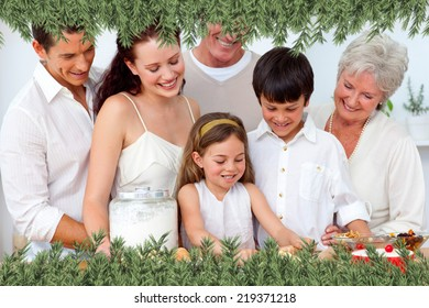 Parents and granparents looking at children baking against green fir branches