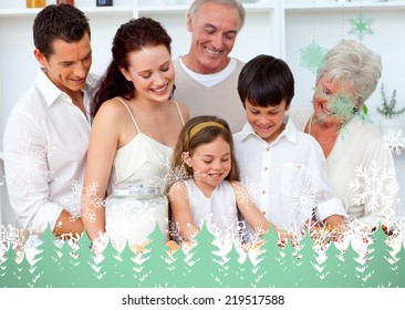 Parents and granparents looking at children baking against snowflakes and fir trees in green