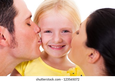 parents kissing little daughter on white