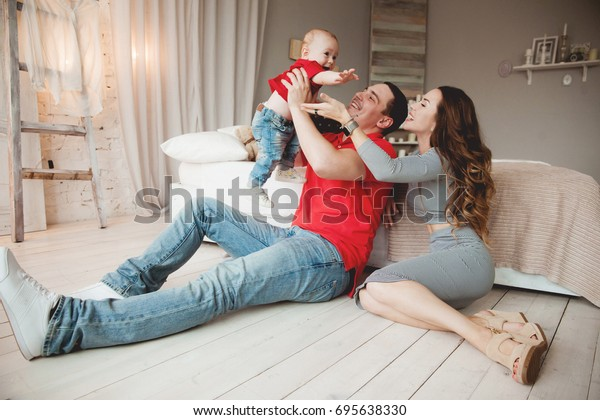 Parents Mom Dad Playing Little Boy Stock Photo Edit Now 695638330