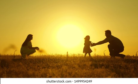 parents play with their little daughter. mother and Dad play with their daughter in sun. happy baby goes from dad to mom. young family in field with a child 1 year. family happiness concept.