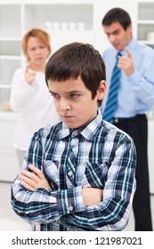 Parents punishing his sad child