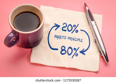 Pareto 80-20 principle concept - a sketch on a napkin with a cup of coffee