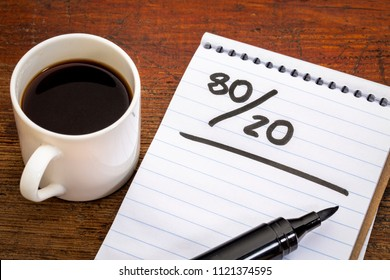 Pareto principle or eighty-twenty rule represented in a notebook with a cup of coffee - a reminder or advice