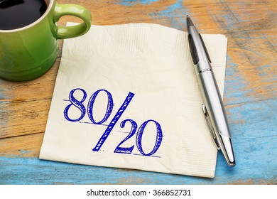 Pareto principle or eighty-twenty rule represented on a napkin with a cup of coffee  - a reminder or advice
