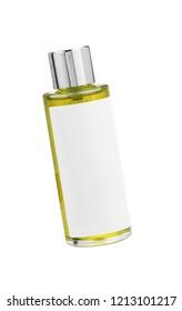 Parfume yellow bottle isolated on white background