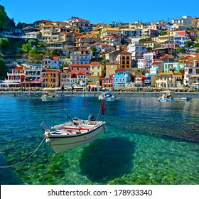Parga boat - heaven on earth -  Greece holidays - clear sea and reflaction