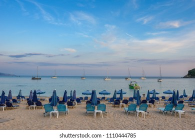 PARGA, GREECE - MAY 2018: Panoramic view of the amazing beach of Valtos at sunset. It is one of the longest beaches in the coastal town of Parga, Greece, located near the historical castle of Parga.
