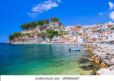 Parga, Greece. Waterfront of the Resort town on the Ionian coast.