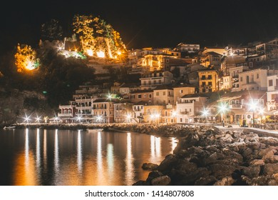 PARGA TOWN, GREECE- June 3, 2019 - Nighttime Panorama View of Colorful Parga City / Popular Greek Resort for Summer Vacation