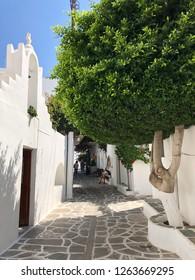 Parikia, Greece - August 29, 2018: Cycladic greek orthodox church on Paros island, Greece.