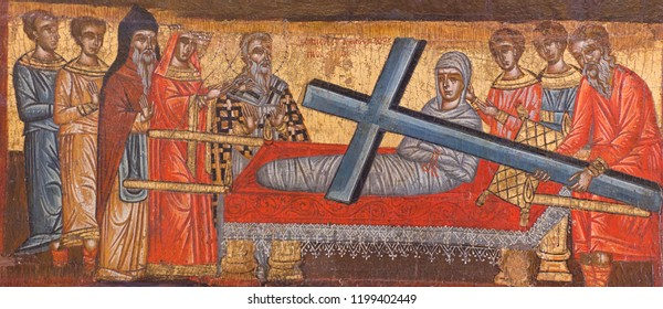 PARIKIA, GREECE - MARCH 17, 2018: Dormition of the Virgin Mary - ancient painting from Church of the Virgin Hekatontapyliane on Paros Island, Cyclades