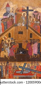 PARIKIA, GREECE - MARCH 17, 2018: Exaltation of the Holy Cross and Dormition of the Virgin - ancient painting from Church of the Virgin Hekatontapyliane on Paros Island, Cyclades