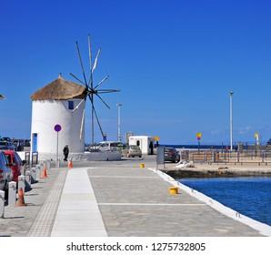 PARIKIA, GREECE - MARCH 24: View of the port of Parikia, Greece on March 24, 2018.