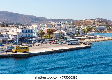 Parikia, Greece - September 02,  2017: Port and old town of Parikia , view from the sea, Paros island, Cyclades, Greece