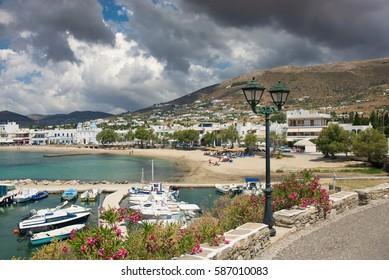 Parikia town, Paros island, Cyclades, Greece. Beautiful tourist resort on the island view on  cloudy day