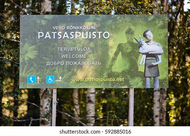 Parikkala, Finland - August 21, 2015: Sculptures by ITE-artist Veijo Ronkkonen in his sculpture park Parikkalan patsaspuisto . The park contains about 560 concrete statues and a magnificent garden.