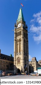 Parilament of Canada Clock Tower with restoration being performed.