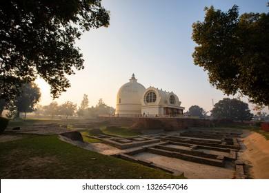 Parinirvana Stupa and temple beautiful foggy in The Morning, Kushinagar, India.