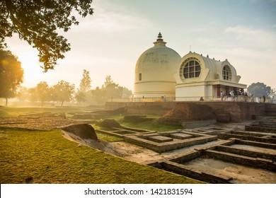 Parinirvana Stupa and temple, Kushinagar, India, Buddhist pilgrimage site, where Buddha attained Parinirvana after his death
