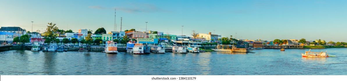 Parintins/Amazonas/Brazil - April 06, 2019: Panoramic view of the Parintins riverfront