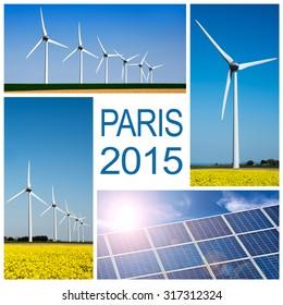 Paris 2015, climate change conference concept collage
