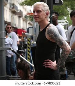 PARIS- 21 June 2017 Man on the street during the Paris Fashion Week