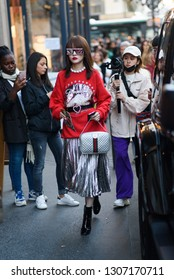 PARIS- 27 September 2018: Street style meanwhile Paris fashion week. Ready to wear