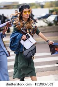PARIS- 27 September 2018: Street style meanwhile Paris fashion week. Ready to wea