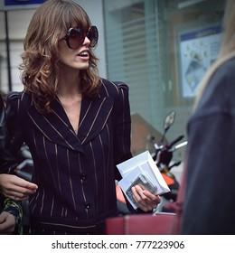 PARIS- 28 September 2017 Model on the street during the Paris Fashion Week