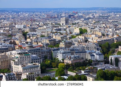 Paris aerial view with Triumphal Arch. Capital city of France.