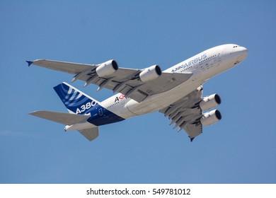 PARIS AIRSHOW 2011, FRANCE: Airbus A380 exhibition flight at Le Bourget Air Show on June 24-26, 2011 Paris France