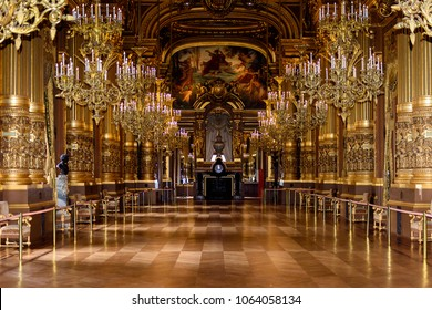 PARIS - APRIL 1, 2018: Chandelier of the Grand foye of the Palais Garnier, an opera house in Paris, France