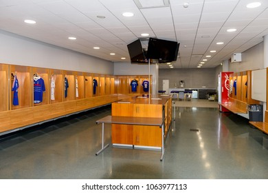 PARIS - APRIL 1, 2018: French team legendary players' shirts, Changing room, Stade de France, the national footbal and rugby stadium, Saint-Denis, Paris