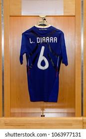 PARIS - APRIL 1, 2018: Lassana Diarra shirt, Changing room, Stade de France, the national footbal and rugby stadium, Saint-Denis, Paris