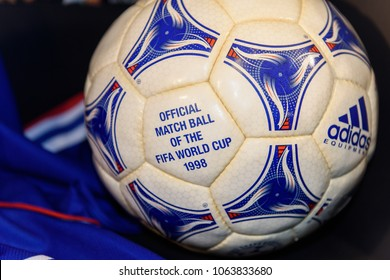 PARIS - APRIL 1, 2018: World Cup 98 official ball, Museum at the Stade de France, the national footbal and rugby stadium, Saint-Denis, Paris
