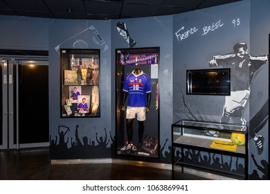 PARIS - APRIL 1, 2018: Zinedine Zidane retro shirt, World Cup 1998 final, Museum at the Stade de France, the national footbal and rugby stadium, Saint-Denis, Paris