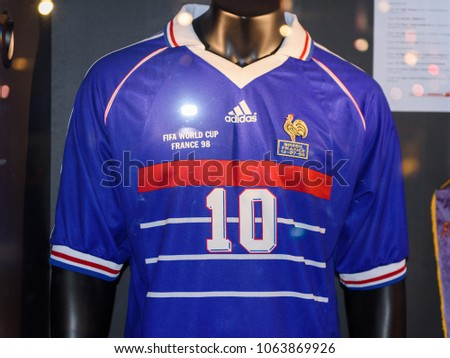 7c90db79e0 PARIS - APRIL 1, 2018: Zinedine Zidane retro shirt, World Cup 1998 final,  Museum at the Stade de France, the national footbal and rugby stadium,  Saint-Denis ...