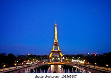 PARIS - APRIL 15 : Light Performance Show of Eiffel tower with twilight sky on April 15, 2012 in Paris. The tower is the most visited monument of Paris and France.