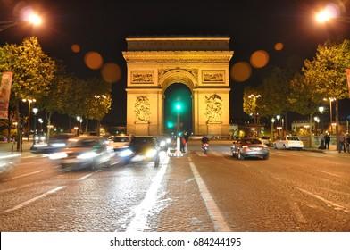 PARIS, April 2011 - Bustling avenue Champs-Elysees at night