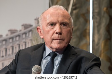PARIS - APRIL 27, 2016 : The businessman and art collector Francois Pinault during the conference about the creation at Paris (Bourse du Commerce) of a permanent site to present his art collection.