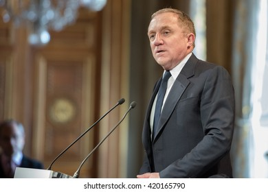 PARIS - APRIL 27, 2016 : The businessman and art collector Francois Henri Pinault at the conference about the creation at Paris (Bourse du Commerce) of a permanent site to present his art collection.