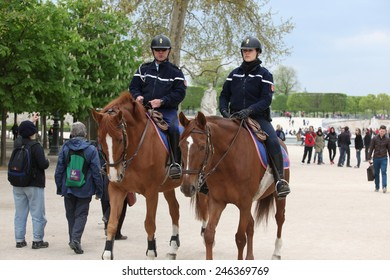 PARIS - APRIL 27: French police control the street, Paris the 27 april 2013, France. Paris is one of the most populated metropolitanareas in Europe