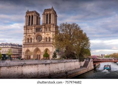 PARIS - APRIL 29, 2016: Notre Dame de Paris at sunset.
