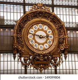 PARIS - APRIL 7: Golden clock of the museum D'Orsay as seen on April 7, 2013 in Paris, France. Musee d'Orsay has the largest collection of impressionist and post-impressionist paintings in the world.